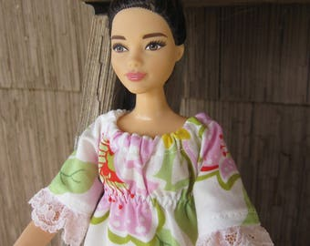 Handmade Curvy Barbie Peasant Style Dress Trimmed in Lace, made from a Heather Bailey fabric called Nicey Jane