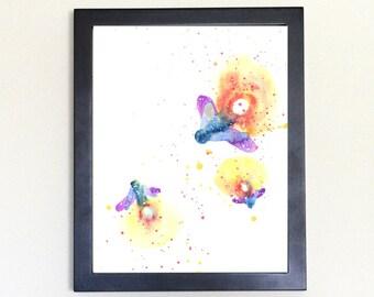 Firefly Galaxy Spirit Animal Watercolor Art Print 8x10
