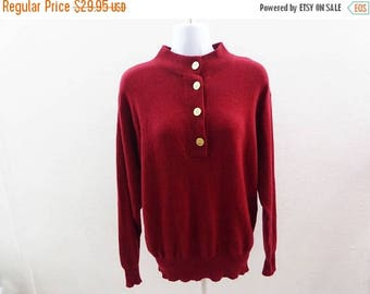 100% Cashmere Sweater Size L Burgundy Red Polo Womens I Magnin 42 Chest Tunic