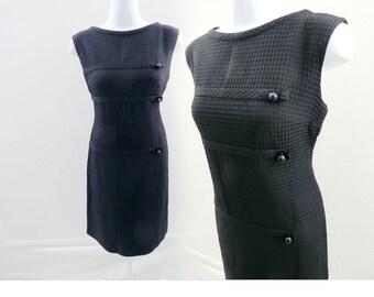 Vintage 50s Dress Size M Little Black LBD Wiggle Shift Mod 60s Cotton Secretary