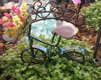 Fairy garden miniature dollhouse bicycle with flower basket