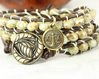 Zodiac Jewelry, Libra Charm Bracelet, September Birthday, Green Wrap Bracelet, Astrological Signs,  Libra Star Sign, Leather Jewelry
