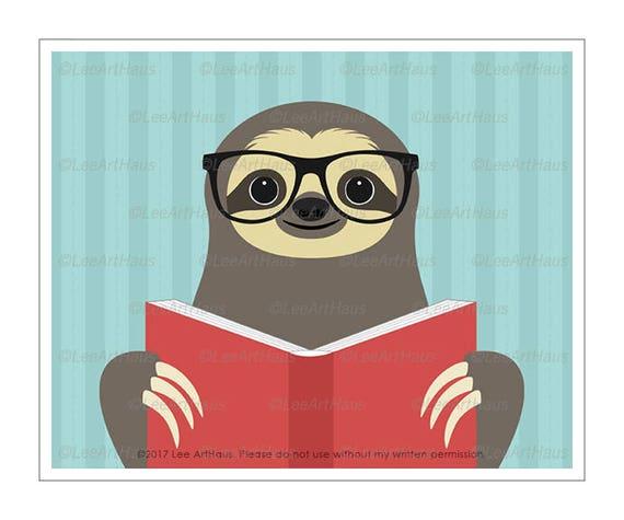 49J Sloth Wall Decor - Sloth Reading Book Wall Art - Library Decor - Sloth Print - Kids Room Wall Art - Sloth Prints - Reading Poster Print