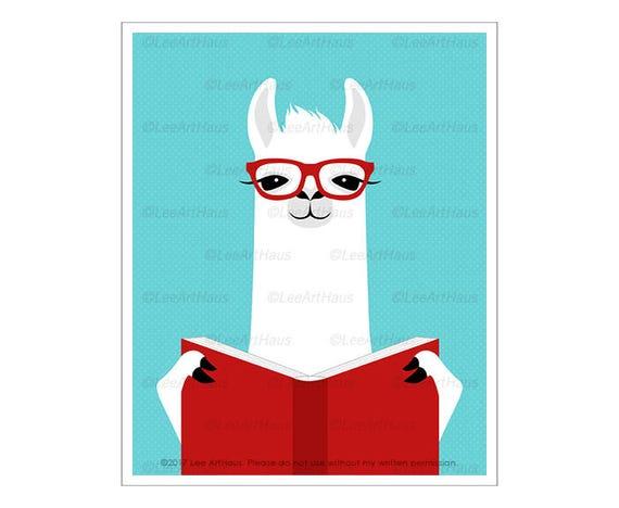 53J Book Art Prints - White Llama Reading Book Wall Art - Book Lover Gifts - Reading Art - Llama Art - Reading Poster - Library Decor