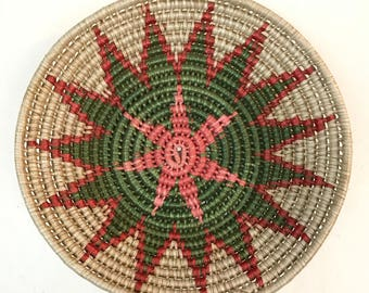 vintage coil basket - round woven starburst wall basket - boho tribal - pink red green