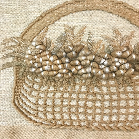 vintage wall weaving - large woven fiber art sculpture - Don Freedman style - boho wall hanging - beige white