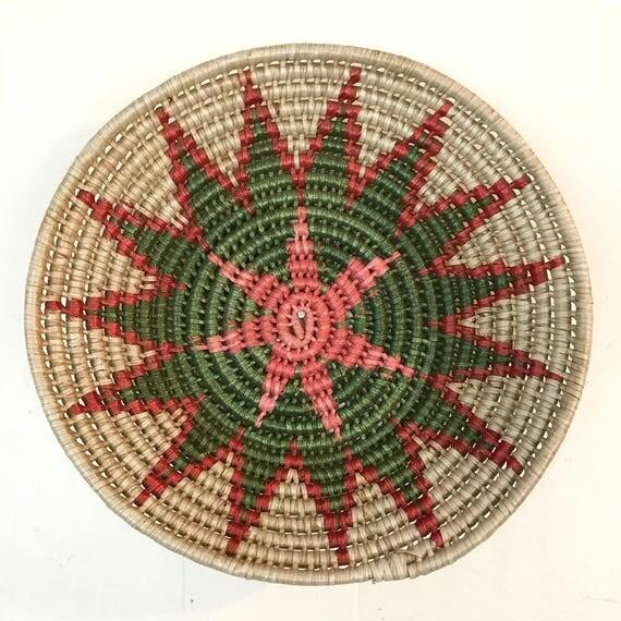 vintage coil basket - round woven starburst wall basket - boho tribal - pink red green