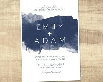 wedding invitation, wedding invitation, custom wedding invitation, watercolor wedding invitation and insert - custom colors available