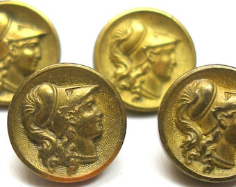 4 Antique Minerva Mythology BUTTONs, Victorian storybook button, Athena. Paris back. 7/16""