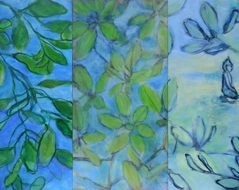 fine art painting - Buddha in the Garden with Rhododendron, triptych - original three part painting by Irene Stapleford - wantknot shop