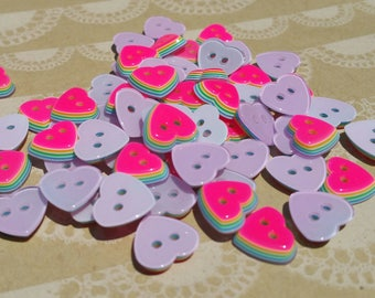 "Pink Heart Rainbow Buttons - Sewing Hearts Button Neon Pink Layered Rainbows - 11mm 1/2"" Wide"