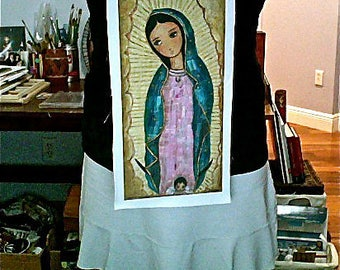 Our Lady of Guadalupe with Angel -  Print on Fabric from Original Painting (8 x 16 inches) by FLOR LARIOS