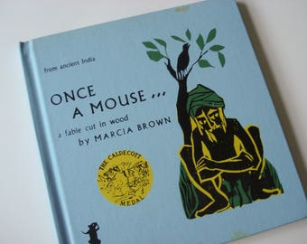 Vintage children's book - Once a Mouse - 1961 - woodcut illustrations