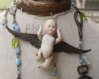 Earth Angel Antique 1910 Bisque German Doll/Angel necklace and antique Scatter Pin