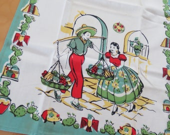 Vintage 40s Tea Kitchen Towel Mexican Fiesta