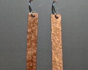 Hammered Copper Rectangle Bar Earrings