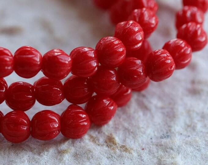 RED MELONS .. NEW 50 Czech Melon Beads 4mm (6003-st)