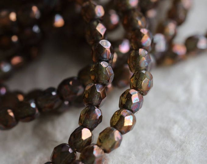 OIL SLICK BITS .. New 50 Premium Faceted Czech Glass Beads 3mm (6056-st)
