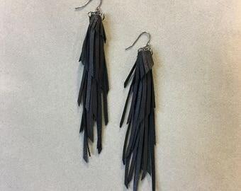 Black leather fringe tassle long statement earrings