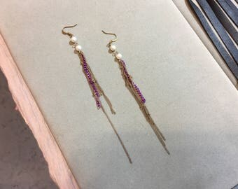 Pink and gold vintage chains pearls long earrings