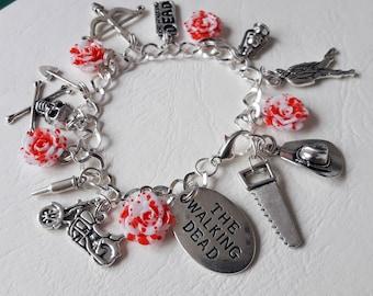 ♥ Silver Charm Bracelet themed zombie The Walking Dead ♥ ♥