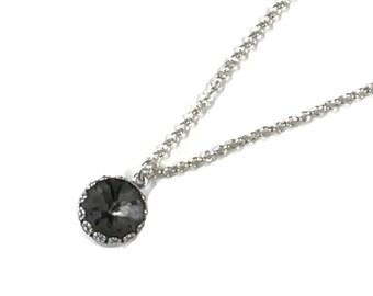 Silver Night dark grey Sea Urchin Crystal Pendant on sterling silver chain