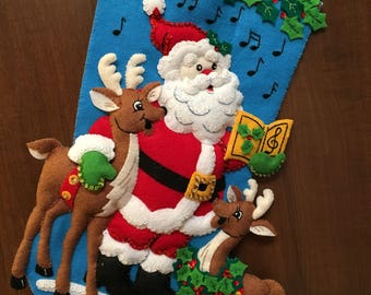 "Bucilla ""Caroling Santa""  Felt Christmas Stocking"