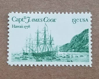 Vintage unused postage stamps - Captain Cook's ship, a set of ten (10) 13 cent stamps