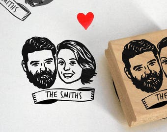 Custom illustrated portait Wedding favors for guests Save the date Personalized gift stamp / self inking / stamper engagement gift ideas