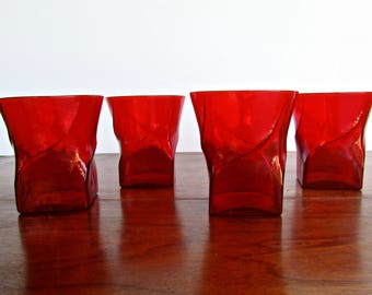 Seneca Twist Lowballs, Set of 4 Crimson Glass, American Mid-Century Modern Morgantown, West Virginia