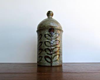 20th Century Europen Studio Art Pottery Jar, Moroccan Influenced shape & Danish Decoration, Made in France