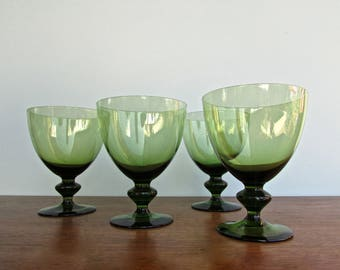"Spanish Modern Goblets by Block, 1960s Spain, Set of 4, Smoke-Green Colored 5"" Delicate Crystal Glasses"