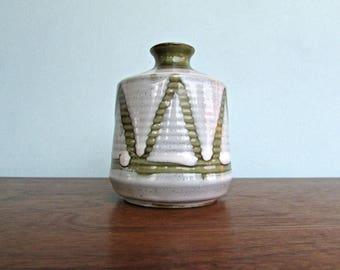 Vintage Napcoware Japan Green & Milk-White Bud Vase/ Weed Pot