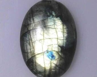 Larger Labradorite oval cabochon, green gold color flash, 79.65 carats                            043-10-210