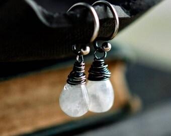 Summer Sale Moonstone Earrings, Drop Earrings, Wire Wrapped, Dangle Earrings, Moonstone Jewelry, Sterling Silver, Galaxy, PoleStar, Oxidized