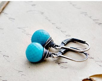Turquoise Earrings, Dangle Earrings, Turquoise Jewelry, Drop Earrings, Wire Wrapped, December Birthstone, Gemstone Earrings, PoleStar