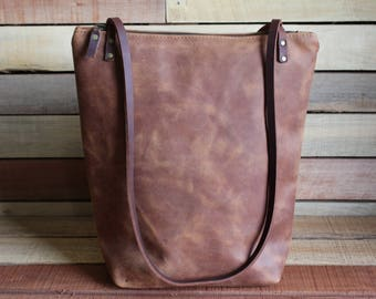 leather tote bag, leather tote with zipper, leather handbag, free shipping, handmade leather purse, zipper top bag, leather bags women