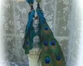 Custom Order For Lauren - 1 Exquisite Peacock Lovebird Cake Topper Pair & 1 Stunning Twenty Inch Placemat