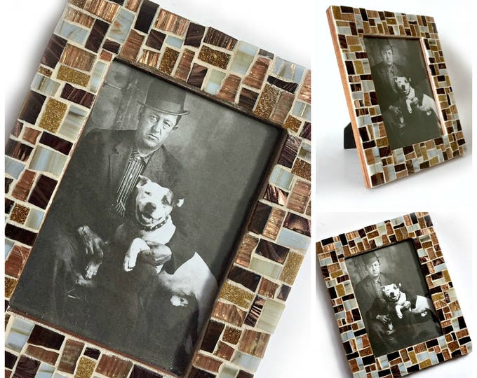 Mosaic Picture Frame, Brown Mosaic Frame, 5x7 Mosaic Frame, Brown Bronze Mosaic Frame, Hand Cut Mosaic Glass Frame, Man Guy Boyfriend Frame