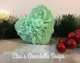 Peppermint Heart & Roses Molded Bar Soap