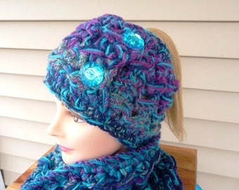 Messy Bun Ponytail Hat and Cowl Set in Turquoise and Plum Mix Ready to Ship