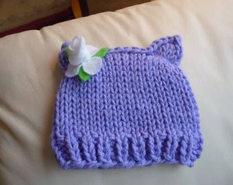 Lavender Kitty Beanie for Newborn to 3 Month Ready to Ship