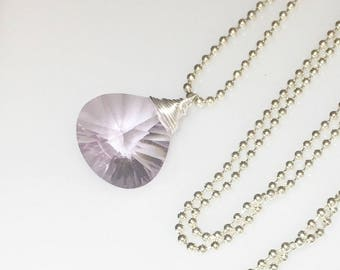 Amethyst Solitaire Sterling Silver, Gemstone Necklace, Starburst Amethyst Heart Shaped Pendant, Amethyst Necklace, February Birthstone