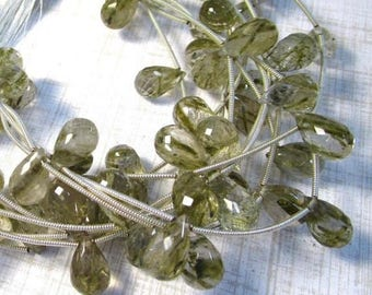 20% Off OUT Of TOWN SALE Aaa Green Rutilated Quartz Briolette Beads, 12mm 14mm Beads , Showy Natural Green Tourmalated Gemstone