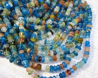 20% OFF SALE Fine Apatite Sunstone Sapphire Green Garnet Rondelle Beads 4mm, Rainbow Gemstone Natural