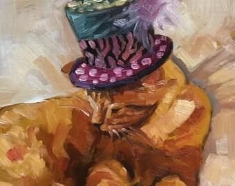 Fancy Ginger Tom Cat Painting Artist Artwork Original Oil Painting on Canvas Unframed Art