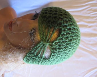 Leaf Green Butterfly Stitch Accent Beanie/Turban