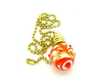 Pull Chain for Fan or Light - Handmade Venetian Glass - Orange Red - 18 inch - Brass or Nickel Chain - Lampwork Glass