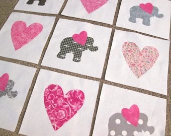 "Set of 9 Grey Elephants and Pink Hearts  6"" x 6""  Cotton Quilt Blocks"