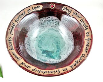 Personalized wedding bowl Handmade ceramic serving bowl with engraving blessing message Teal blue - In stock 142wb